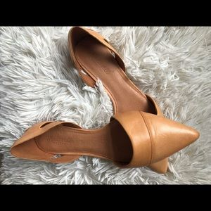 Madewell tan D'orsay pointed toe flats